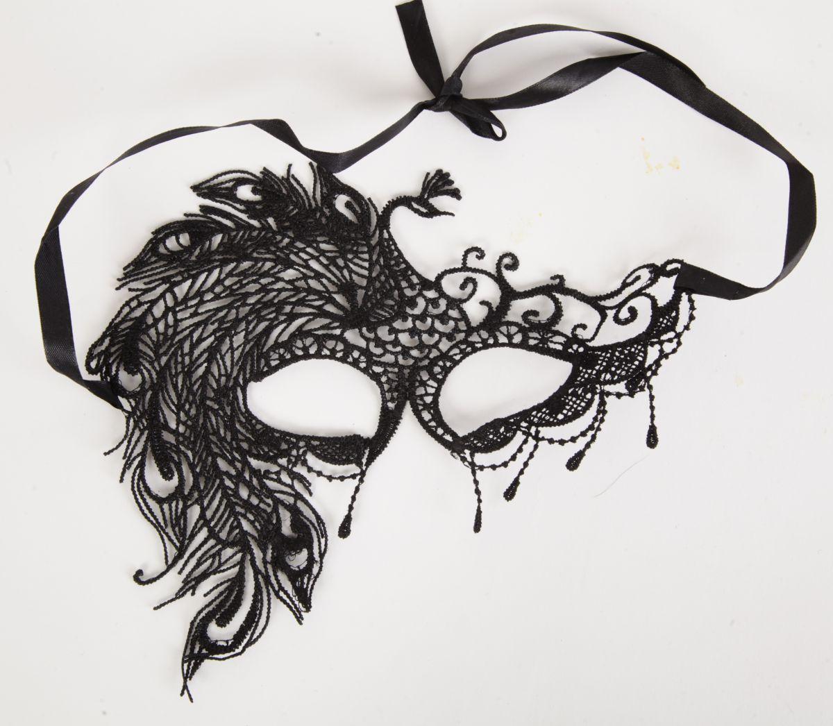 Карнавальная кружевная маска с жар-птицей