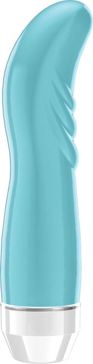 Бирюзовый вибратор Liora с изогнутой головкой - 15,1 см.