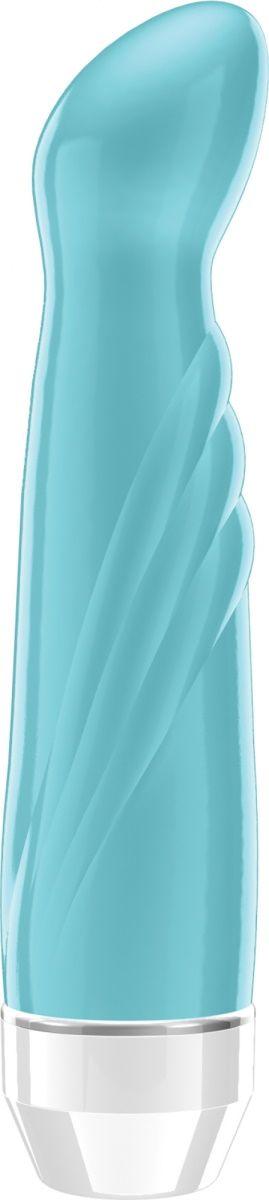 Бирюзовый вибратор Livvy со скошенной головкой - 15,5 см.