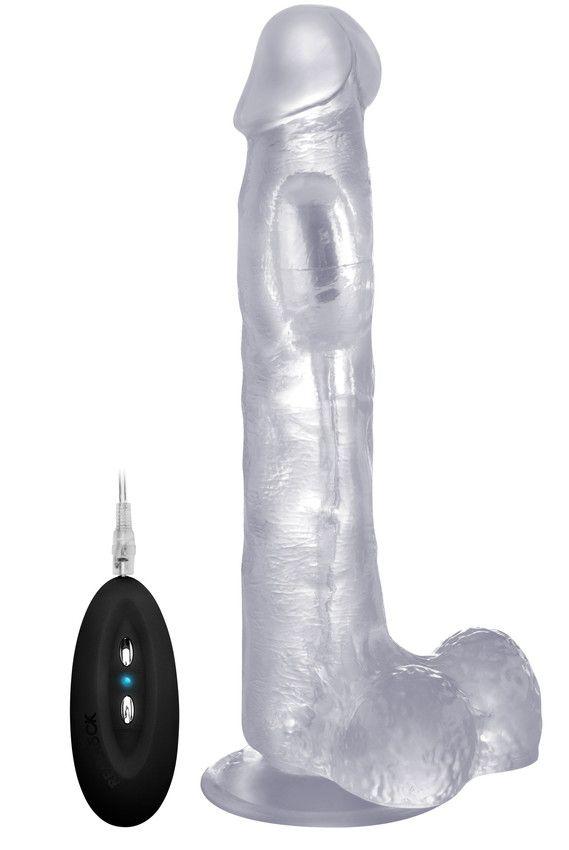 Прозрачный вибратор-реалистик Vibrating Realistic Cock 10  With Scrotum - 27 см.