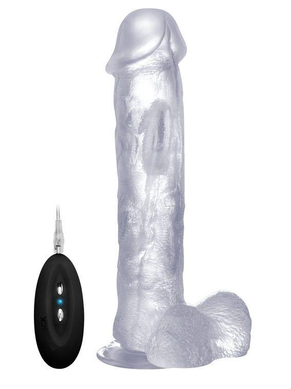 Прозрачный вибратор-реалистик Vibrating Realistic Cock 11  With Scrotum - 29,5 см. REA006TRA от Shots Media BV