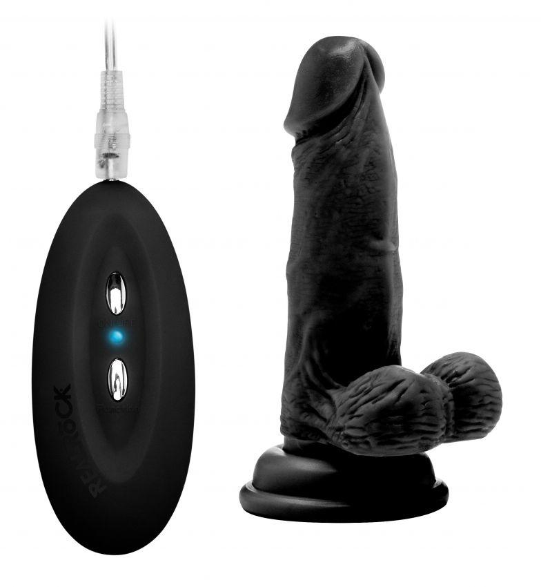 Чёрный вибратор-реалистик Vibrating Realistic Cock 6  With Scrotum - 15 см.