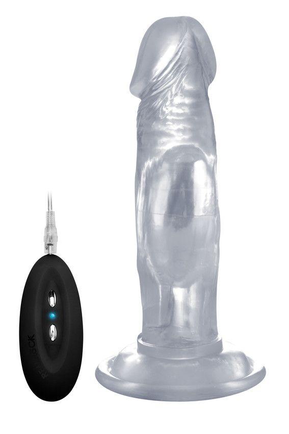 Прозрачный вибратор-реалистик Vibrating Realistic Cock 6  - 15 см.