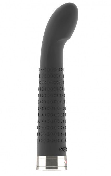 Чёрный вибратор с загнутым кончиком Jet - 16,9 см.