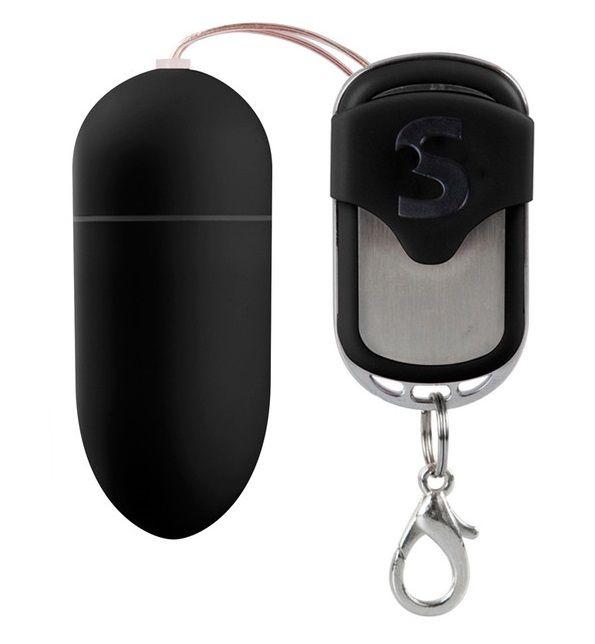 Чёрное виброяйцо Silicone Remote controlled Egg с дистанционным управлением