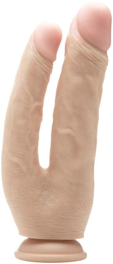Телесный анально-вагинальный фаллоимитатор Realistic Double Cock 10 Inch - 25,5 см.