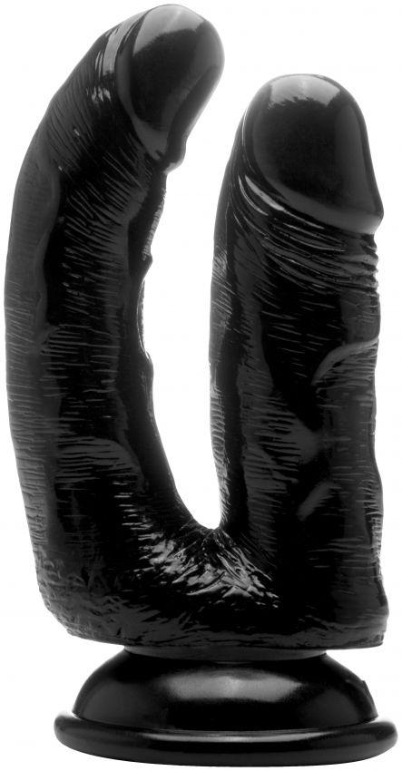 Чёрный анально-вагинальный фаллоимитатор Realistic Double Cock 6,5 Inch - 16,5 см.