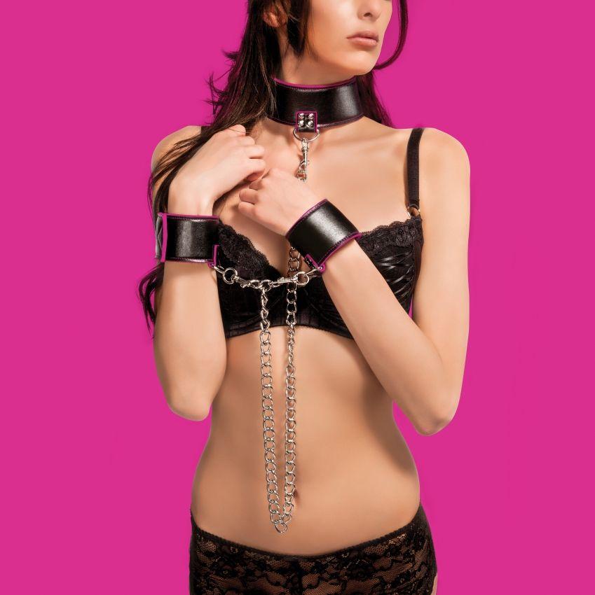 Чёрно-розовый двусторонний ошейник с наручниками Reversible Collar and Wrist Cuffs
