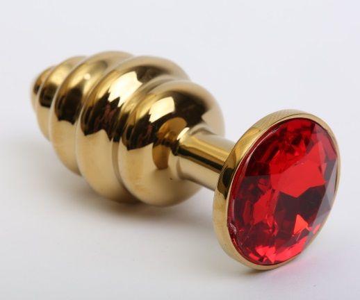 Золотистая ребристая анальная пробка с красным стразом - 7,3 см.