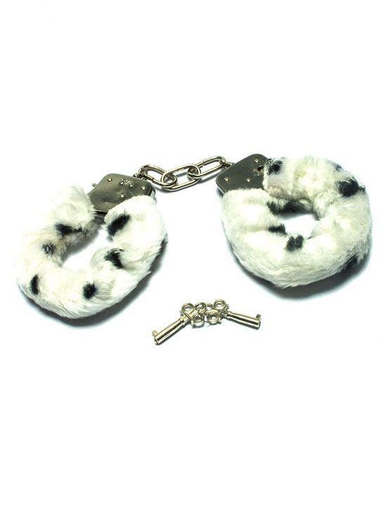 Металлические наручники с бело-чёрным мехом