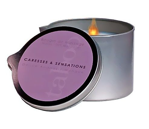 Массажная свеча Taboo Caresses   Sensations с ароматом ананаса и манго - 165 гр.