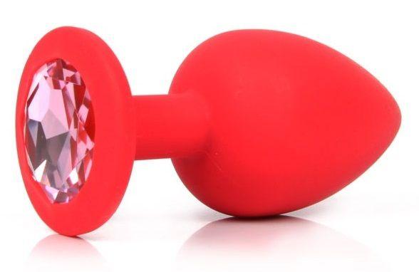Красная силиконовая пробка с розовым кристаллом размера L - 9,2 см.