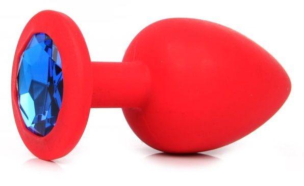 Красная силиконовая пробка с синим кристаллом размера L - 9,2 см.