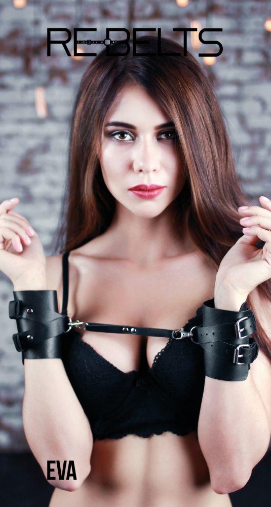 Чёрные кожаные наручники Eva Black