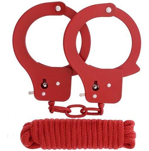 Красные наручники из листового металла в комплекте с веревкой BONDX METAL CUFFS LOVE ROPE SET