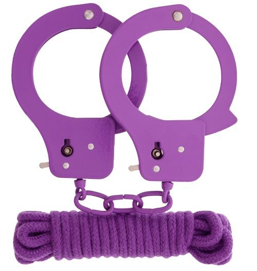 Фиолетовые наручники из листового металла в комплекте с веревкой BONDX METAL CUFFS LOVE ROPE SET
