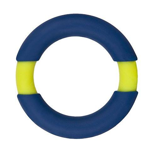 Синее эрекционное кольцо NEON STIMU RING 42MM BLUE/YELLOW