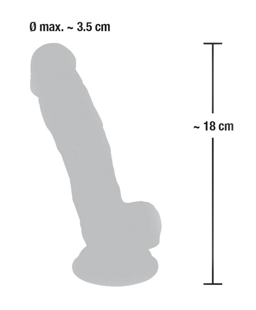 Реалистичный фаллоимитатор из силикона Medical Silicone Dildo - 18 см.