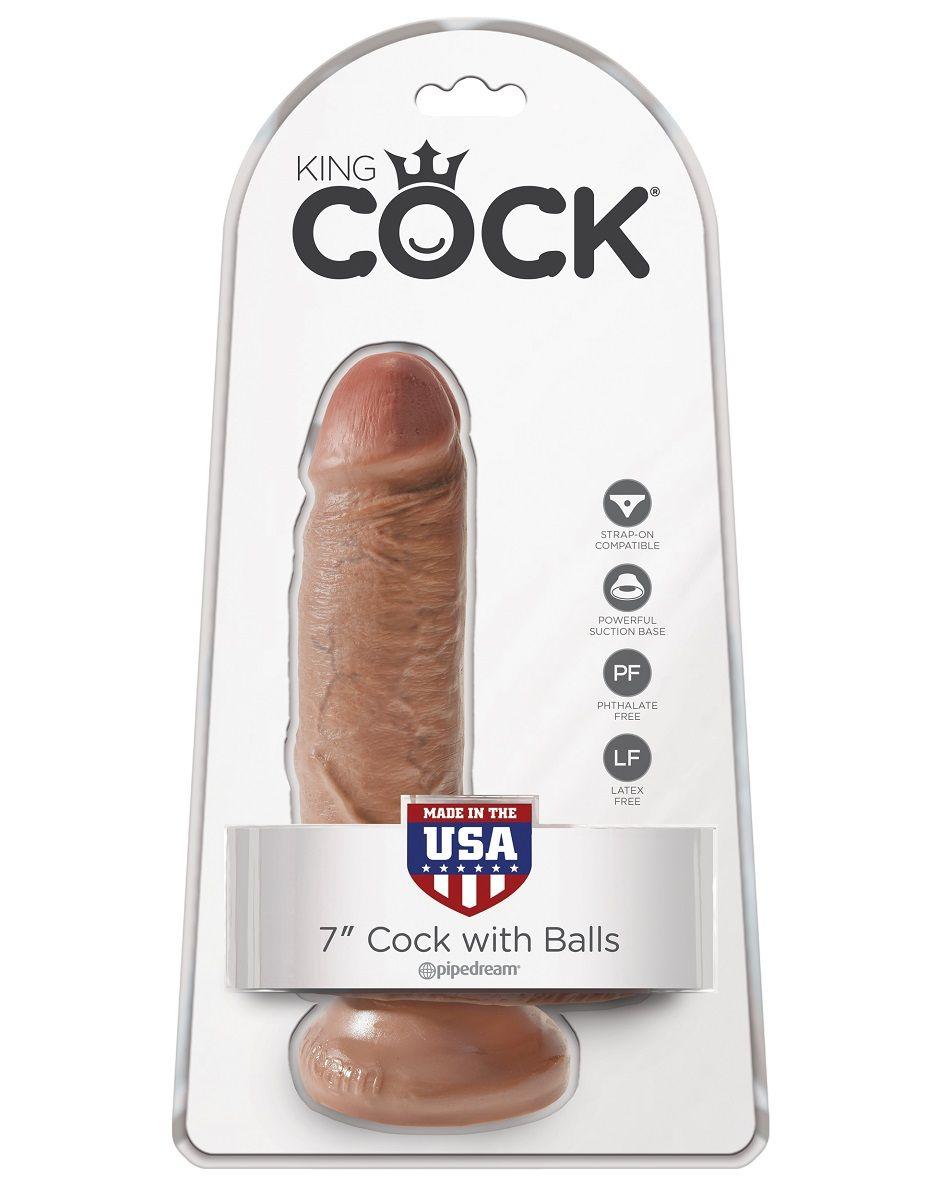 Фаллоимитатор-мулат с мошонкой 7  Cock with Balls - 19,4 см.