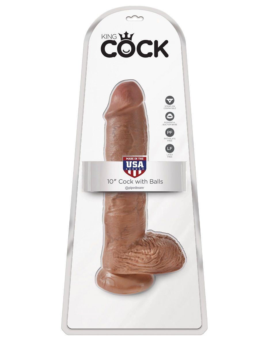 Фаллоимитатор-мулат с мошонкой 10  Cock with Balls на присоске - 25,4 см.