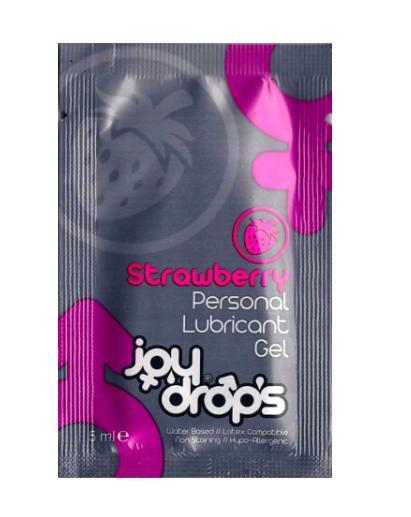 Пробник смазки на водной основе с ароматом клубники JoyDrops Strawberry - 5 мл.