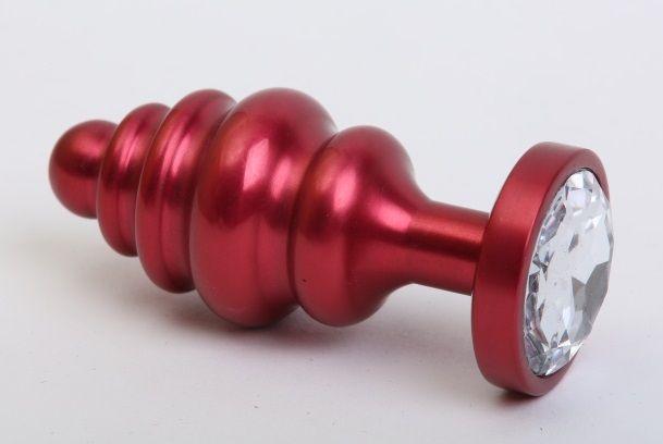 Красная металлическая фигурная пробка с прозрачным стразом - 7,3 см.