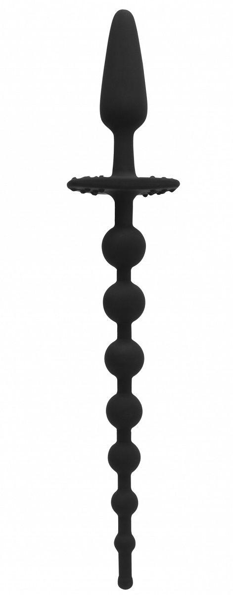 Чёрная анальная елочка с рукоятью в виде пробки No.54 Butt Plug with Anal Chain SON054BLK от Shots Media BV