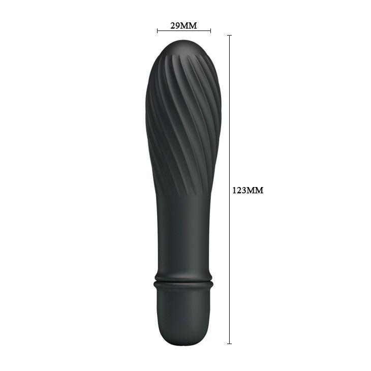 Чёрный вибратор Solomon с бороздками - 12,3 см.