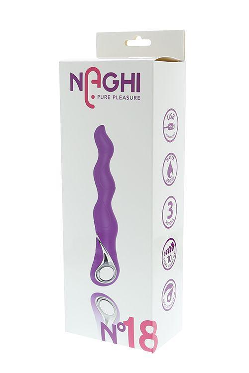 Фиолетовый изогнутый вибратор NAGHI NO.18 RECHARGEABLE 3 MOTOR VIBE - 15 см.