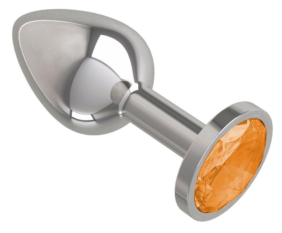 Серебристая анальная втулка с оранжевым кристаллом - 7 см.