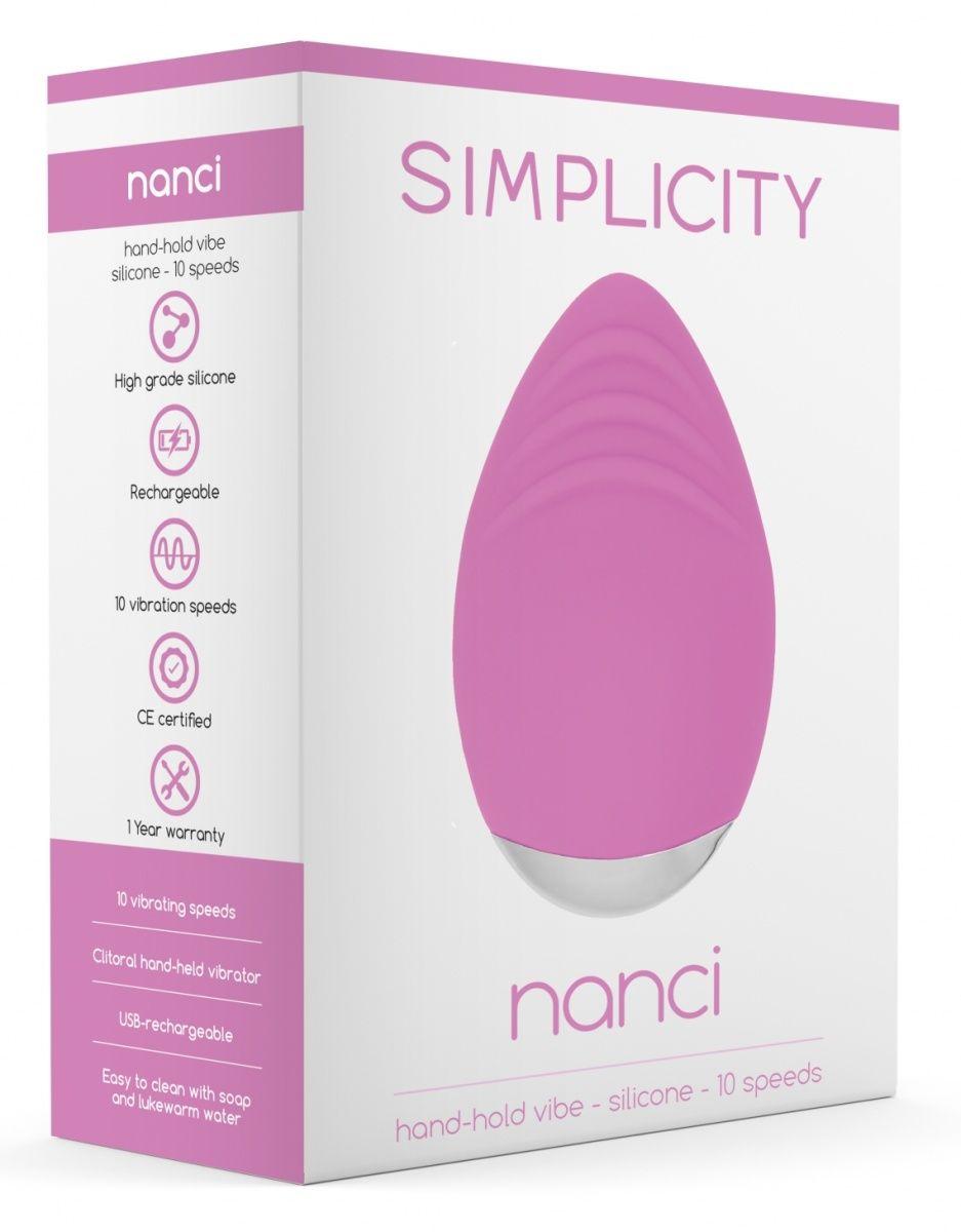 Розовый клиторальный стимулятор Nanci - 10,5 см.