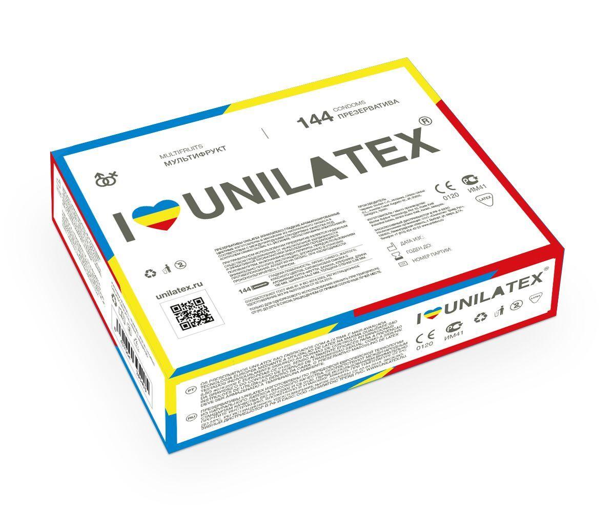 Разноцветные ароматизированные презервативы Unilatex Multifruits - 144 шт. - фото 172842