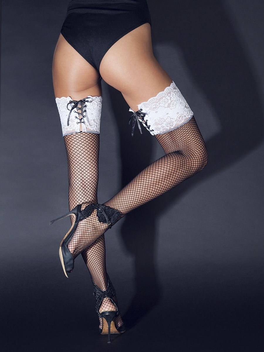 Чулки с широкой резинкой на шнуровке