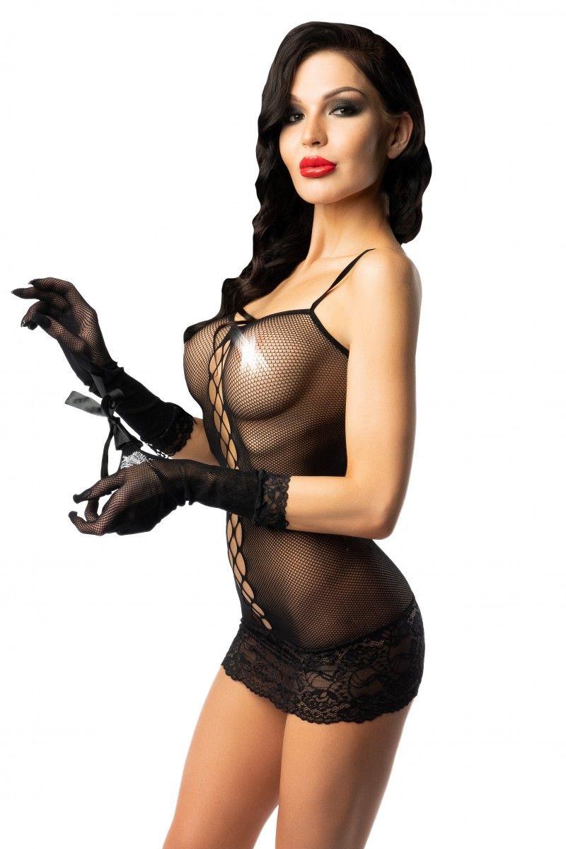 Эротическое платье-сетка с перчатками - фото 173777