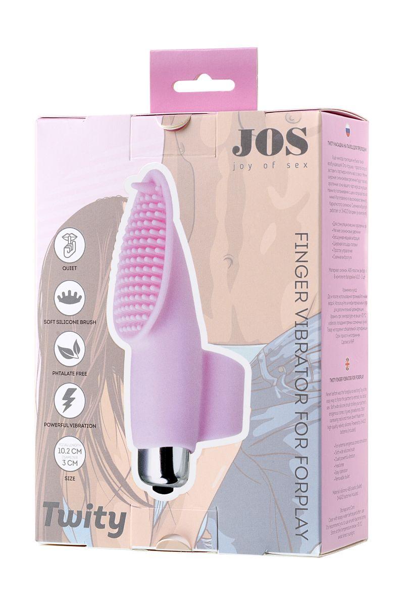 Нежно-розовая вибронасадка на палец JOS TWITY - 10,2 см.