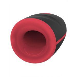 Черно-красный вибромастурбатор с нагревом Small Mood