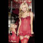 Красное стрейчевое платьице с подвязками
