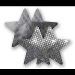 Комплект из 1 пары графитовых пэстис-звездочек с блестками и 1 пары графитовых пэстис-звёздочек с гладкой поверхностью