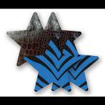 Комплект из 1 пары черных пэстис-звезочек под змеиную кожу и 1 пары синих пэстис-звёздочек в полоску