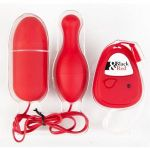 Красный вибронабор с пультом ДУ и 5 режимами вибрации