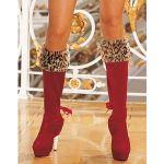 Натяжные вельветовые чехлы на сапожки с леопардовой отделкой