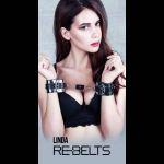 Черные наручники Linda Black с зеркальным элементом и ремнями