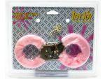 Розовые меховые наручники с ключами #4405