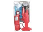 Красная анальная вибровтулка среднего размера  #6167