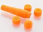 Компактный оранжевый вибромассажер  с 4 насадками #6573