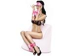Розовый набор: наручники, наножники и маска #7098