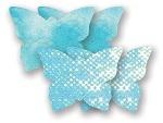 Комплект из 1 пары голубых пэстис-бабочек с блестками и 1 пары голубых пэстис-бабочек с кружевной поверхностью #7998