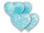 Комплект из 1 пары голубых пэстис-сердечек с блестками и 1 пары голубых пэстис-сердечек с кружевной поверхностью #7999