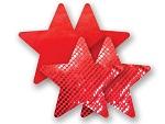 Комплект из 1 пары красных пэстис-звездочек с блестками и 1 пары красных пэстис-звездочек с гладкой поверхностью #8002