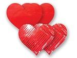 Комплект из 1 пары красных пэстис-сердечек с блестками и 1 пары красных пэстис-сердечек с гладкой поверхностью #8003